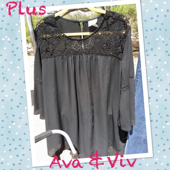 c2a1a186f373c7 Ava   Viv Tops - Plus Ava   Viv Bell Sleeve Top w Lace Detail
